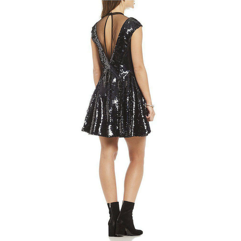 Free People Dance Til Dawn Black Sequin Fit Flare Illusion Lined Dress XS NWT