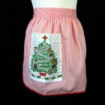 Christmas Apron Vintage 1970s Holiday Red White Stripes Tree Joy to the ... - $19.79