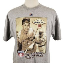 Cubs Ron Santo 2012 Hall of Fame T-Shirt XL Majestic Gray S/S Crew Doubl... - $17.99