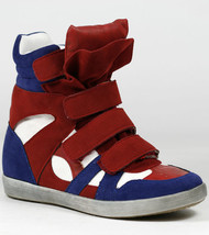 Red Blue White High Top Fashion Sneakers Wedge Ankle Boot Bootie Wild Diva - $14.99