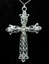 "Rhinestone CROSS Big 3.5""  NECKLACE Vintage Pendant Clear Silvertone Lacy 20"" - $14.99"
