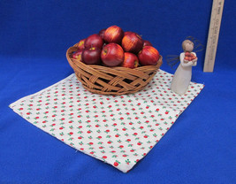 Willow Tree Good Health Figurine 25 Faux Apples Wicker Basket Fabric 28 ... - $15.83