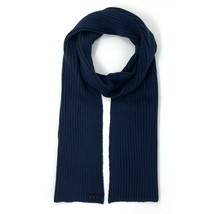 John Varvatos Star USA Men's Fashion Scarf Plated Ribbed Wool Blend Navy - $59.12