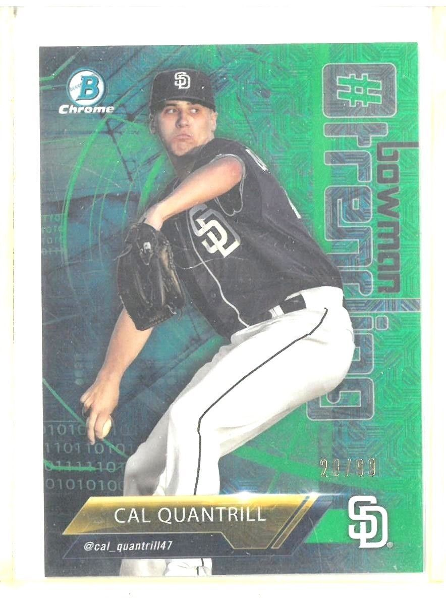 Primary image for Cal Quantrill RC 2018 Bowman Chrome Green MOJO Refractor#28/99 PSA10?Padres RC