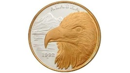 Alaska Mint Official 1992 State Medallion Gold & Silver Medallion Proof ... - $514.68