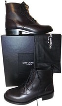 Yves Saint Laurent Hunt Ankle Boot Brown Leather Flat Bootie 38.5 Ysl Co... - $539.91