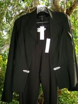 NWT BLACK PANT SUIT 14 - RHINESTONES - Retail $467- Solange Paris Rome NY - $99.00