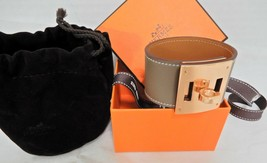 Hermes Kelly Dog Etoupe Rose Gold Cuff Bracelet New - $795.00