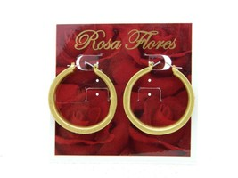 New Old Stock ROSA FLORES Purple Topaz Rhinestone Gold Tone Hoop Earrings - $23.76