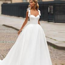 Sleeveless Sweetheart Neckline Back Lacing Simple Princess Bridal Gown with Cour image 5