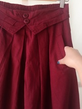 Women Pleated Long Linen Cotton Skirts Outfit Casual Skirt - Burgundy, One Size image 6