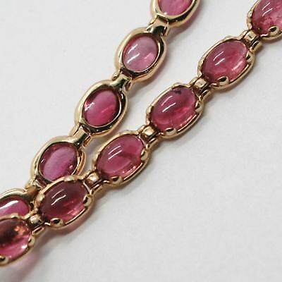 Bracelet Gold Pink 9k Type Tennis with Tourmaline Pink, Made in Italy image 2