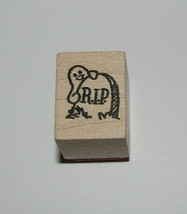 Tombstone Ghost Stamp New Halloween Hero Arts Wood Mounted 1 Inch High RIP - $4.45
