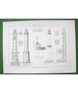 ARCHITECTURE PRINT : Lighthouses at Lighthouses at Brehat and Genoa Italy - $20.25