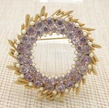 BSK Pink Rhinestone Faux Pearl Large Wreath Vintage Pin Brooch Gold Tone - $29.69