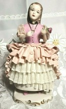"""6"""" Tall Porcelain Girl in Ruffled Hoop Skirt Pink and White Dresden Lace"""