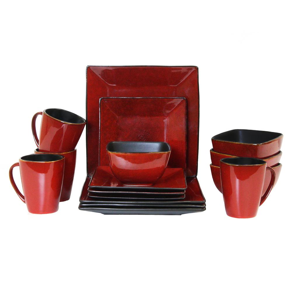 Elama Harland Loft 16 Piece Modern Premium Stoneware set with Complete Setting f