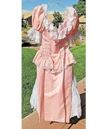 Vintage 80s Loralie Pink Lace Prom Party Dress Fish Tail Train Maxi S/M USA - $127.71