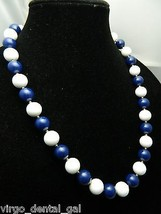VTG Gold Tone Blue & White Plastic Celluloid Lucite Beaded Necklace - $19.80