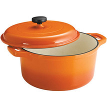 Dutch Oven Cookware 6.5 Quart Orange Finish Round Pot Cooking Heating Po... - $54.78