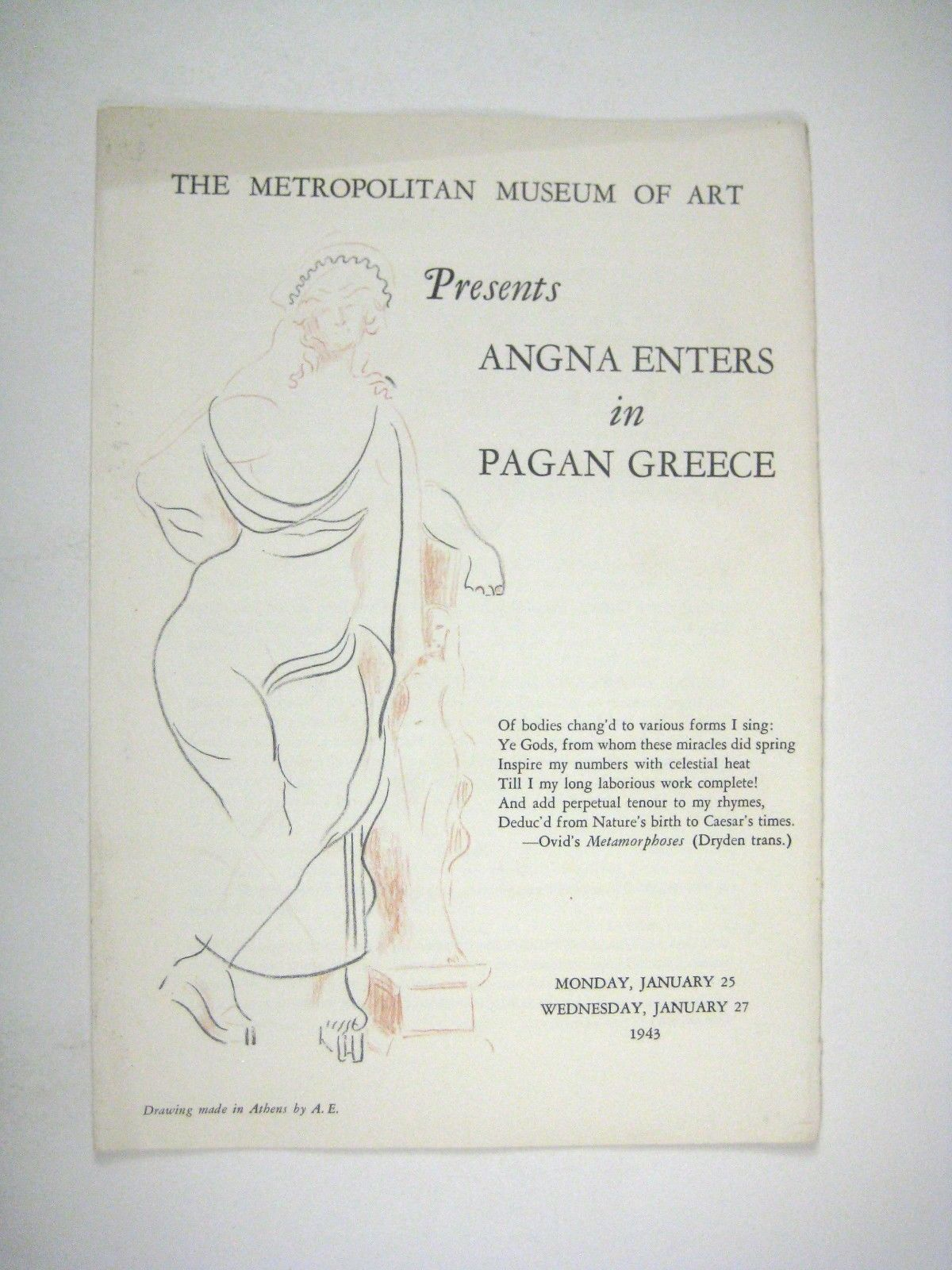 Angna Enters in Pagan Greece Metropolitan Museum of Art 1943 Mime Dance Dancer