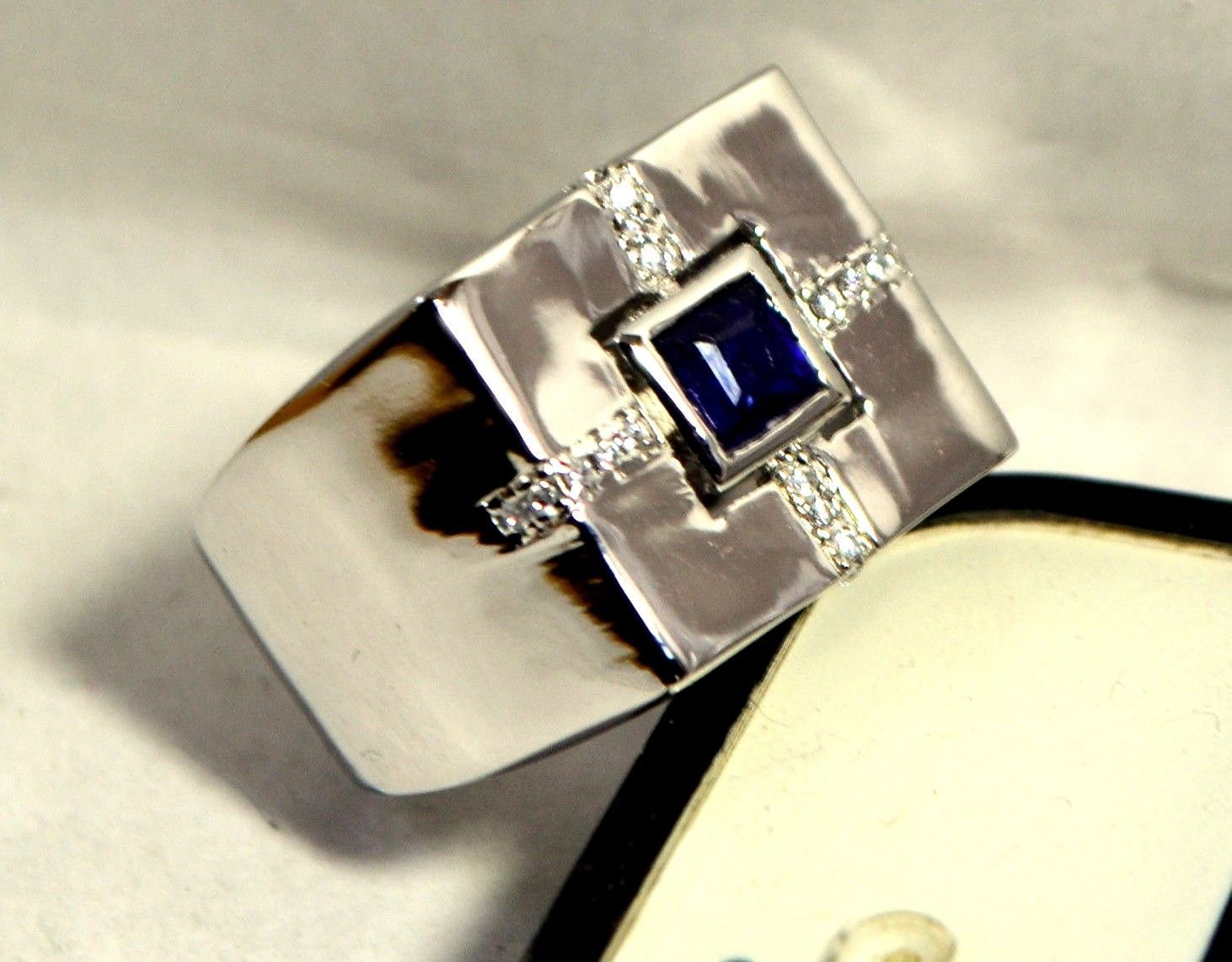 925 Sterling Silver Natural Fine Quality Blue Sapphire And Cz Gemstone Handmade