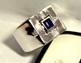 925 Sterling Silver Natural Fine Quality Blue Sapphire And Cz Gemstone Handmade  image 1