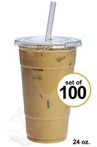 [100 Sets - 24 oz.] Plastic Cups With Flat Lids - $28.33