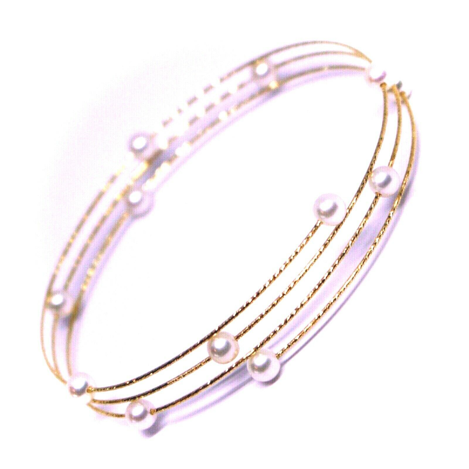 18K ROSE GOLD MAGICWIRE BANGLE BRACELET, ELASTIC WORKED MULTI WIRES PINK PEARLS