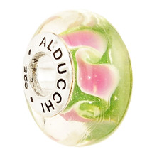 Alducchi  Green - Pink Wave  Murano Glass .925 Silver European Charm Bead - $15.95