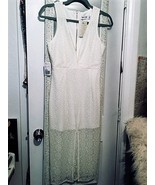 Stunning Plunging Ivory/White Tiger Mist Midi Lace Dress. Small - $50.00