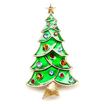 Brooch Christmas Tree Gold Star Colourful Decoration Sparkle Pin Lovely Gift - $8.99