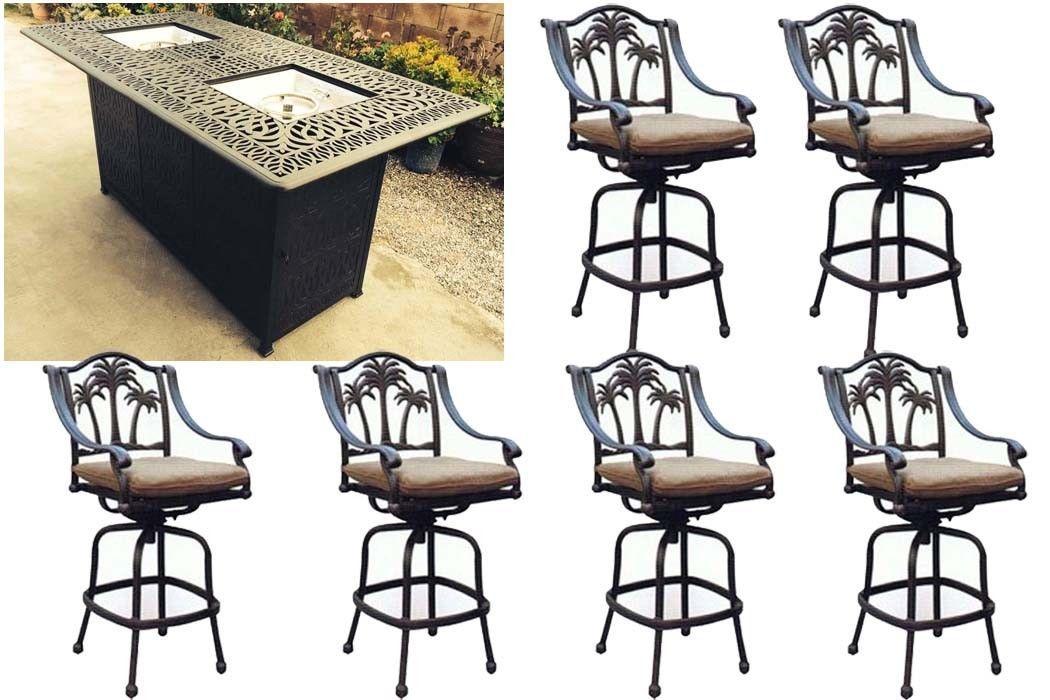 Fire pit propane bar table set 7 piece outdoor cast ...