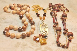 Vintage Wood Earth Natural Bead Plastic Long Pendant 3 Necklace Lot - $19.78