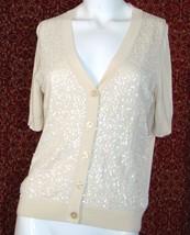 TALBOTS PETITES cream cotton blend short sleeve sweater M (T46-03H6G) - $4.49