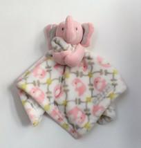 Plush Elephant Pink Grey Lime Damask Blankets & Beyond Security Lovey  - $17.59