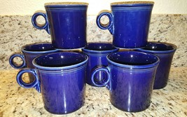 Fiesta Ware HLC Coffee Mugs in COBALT BLUE Ring Handle EUC Set of 7 - $69.00