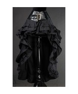 Black Steampunk Victorian Long Short Front Ruffle Buckle Belted Goth Skirt - $101.29