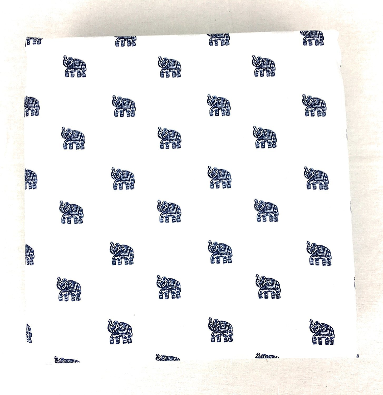 Cynthia Rowley Navy Elephants on White Microfiber Sheet Set Full