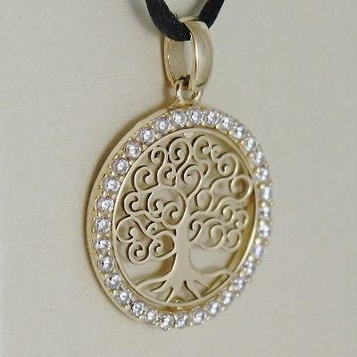 18K YELLOW GOLD TREE OF LIFE PENDANT, 0.75 INCHES, ZIRCONIA, MADE IN ITALY