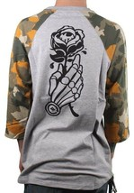 LRG H.E.L.l. High End Low Life 3/4 Sleeve Raglan Ash Heather Gray Camo T-Shirt