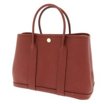 HERMES Garden Party TPM Country Leather Rouge H Tote Bag #D France Authe... - $4,621.85