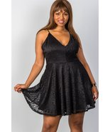 Women's Plus size floral lace criss cross back mini dress - $22.50