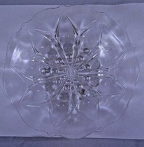 Vtg Anchor-Hocking Clear 3-Toed Nappy Teardrop & Dot Floral Dish Shallow... - $9.79