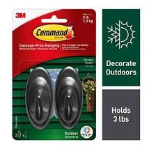 Command Outdoor 3 lb Capacity Medium Terrace Hooks, Black, Water-Resistant Strip