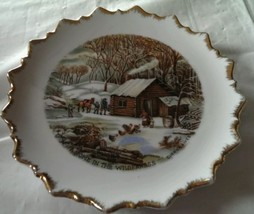 Currier and Ives Collectible Scalloped plate  A home in the Wilderness - $10.84