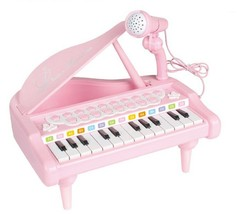World Distribution Kids Grand Piano with Microphone Melody Musical Toy (Pink) image 1