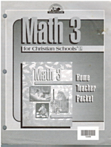 Home Teacher Packet for Math 3 for Christian Schools Second Edition BJU ... - $10.00