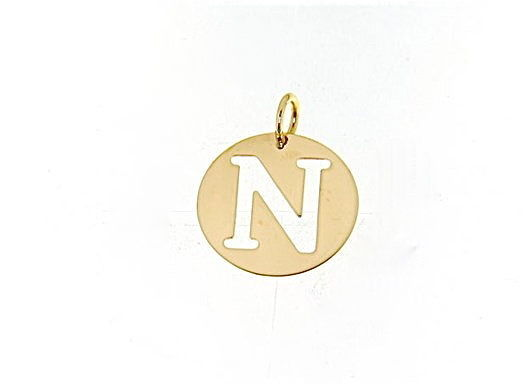 18K YELLOW GOLD LUSTER ROUND MEDAL WITH LETTER N MADE IN ITALY DIAMETER 0.5 IN