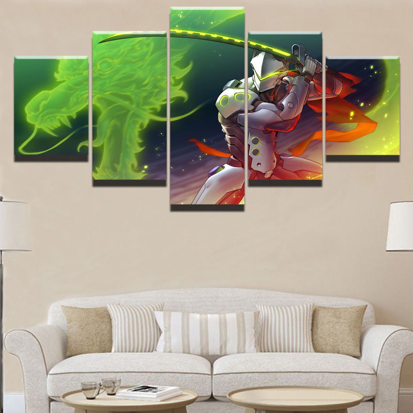 Framed 5 Panel Genji Overwatch Canvas Print Painting Wall Art ...